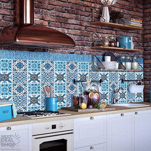 DIY Mediterranean Tile Stickers (4pcs)