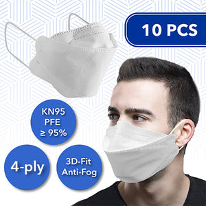 10 Pcs 3D-Fit Disposable Face Masks (KN95) (comparable to N95/ EU FFP2)