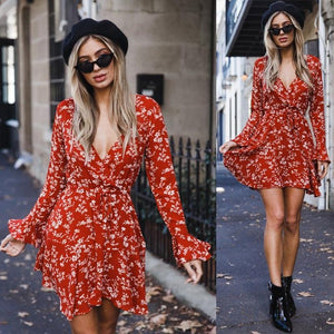 Fluted Sleeve Floral Wrap Dress