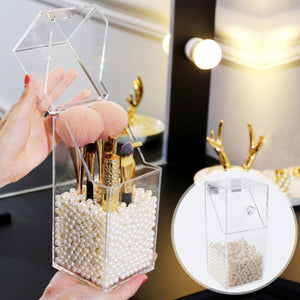 Makeup Brush Display with Pearls
