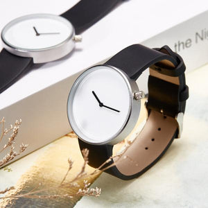 Minimalist Stainless Steel Leather Watch