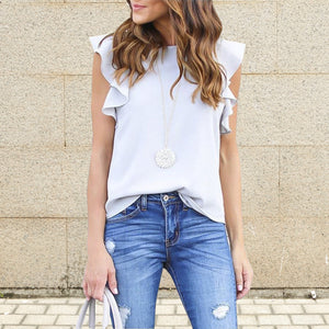 Frilled Sleeveless T-Shirt