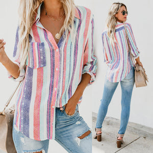 Roll-Up Long Sleeve Striped Shirt