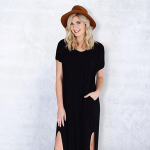 Stylish T-shirt Maxi Dress with Front Slits
