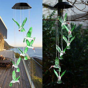 Solar-Powered Dangling Hummingbird Lights