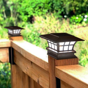 Solar-Powered Fence Post Cap LED Light