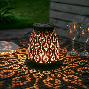 Solar-Powered Iron Moroccan Lamp