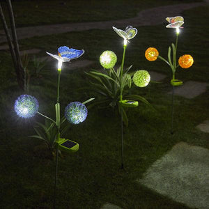 3 Pcs Solar-Powered LED Dandelion Butterfly Stake Lights