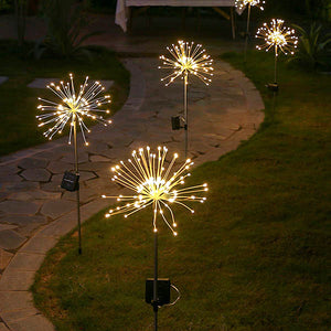 Solar-Powered LED Firework Garden Stake