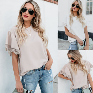 T-shirt with Lace Trim Sleeves