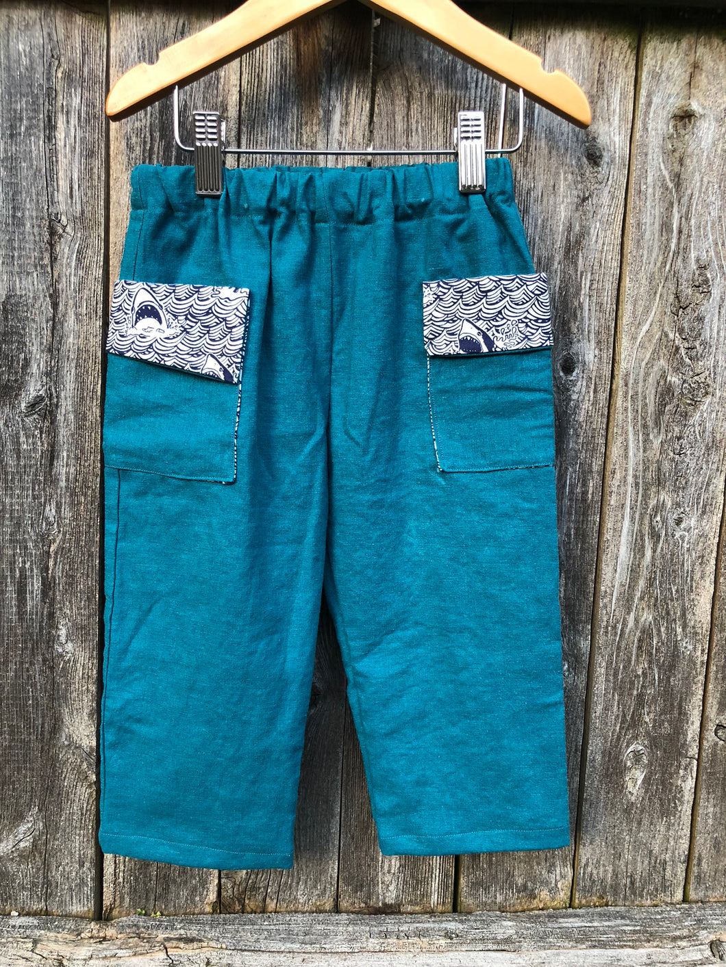 Lennox Pants - Teal Linen Blend w/ Shark Pocket