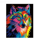 Colorful Wolf Animals Kit Oil Painting