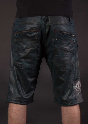 Flying Shorts Fake Leather Snake - BOTTLEGREEN