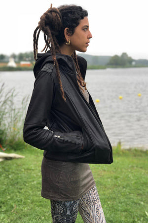 Jacket Woman Fake Leather Rider - BLACK CROC