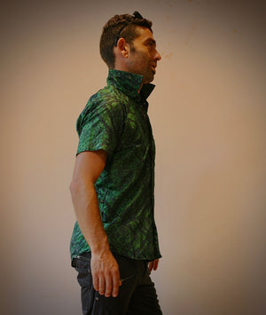 Shirt Half Sleeves Dyed Silk GREEN MAORIBONES