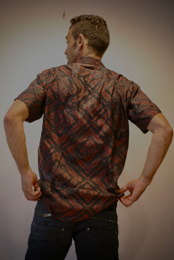 Shirt Half Sleeves Dyed Silk REDEARTH MAORIBONES
