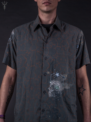 Shirt Men Halfsleeves Cotton - FLYING SKULLS
