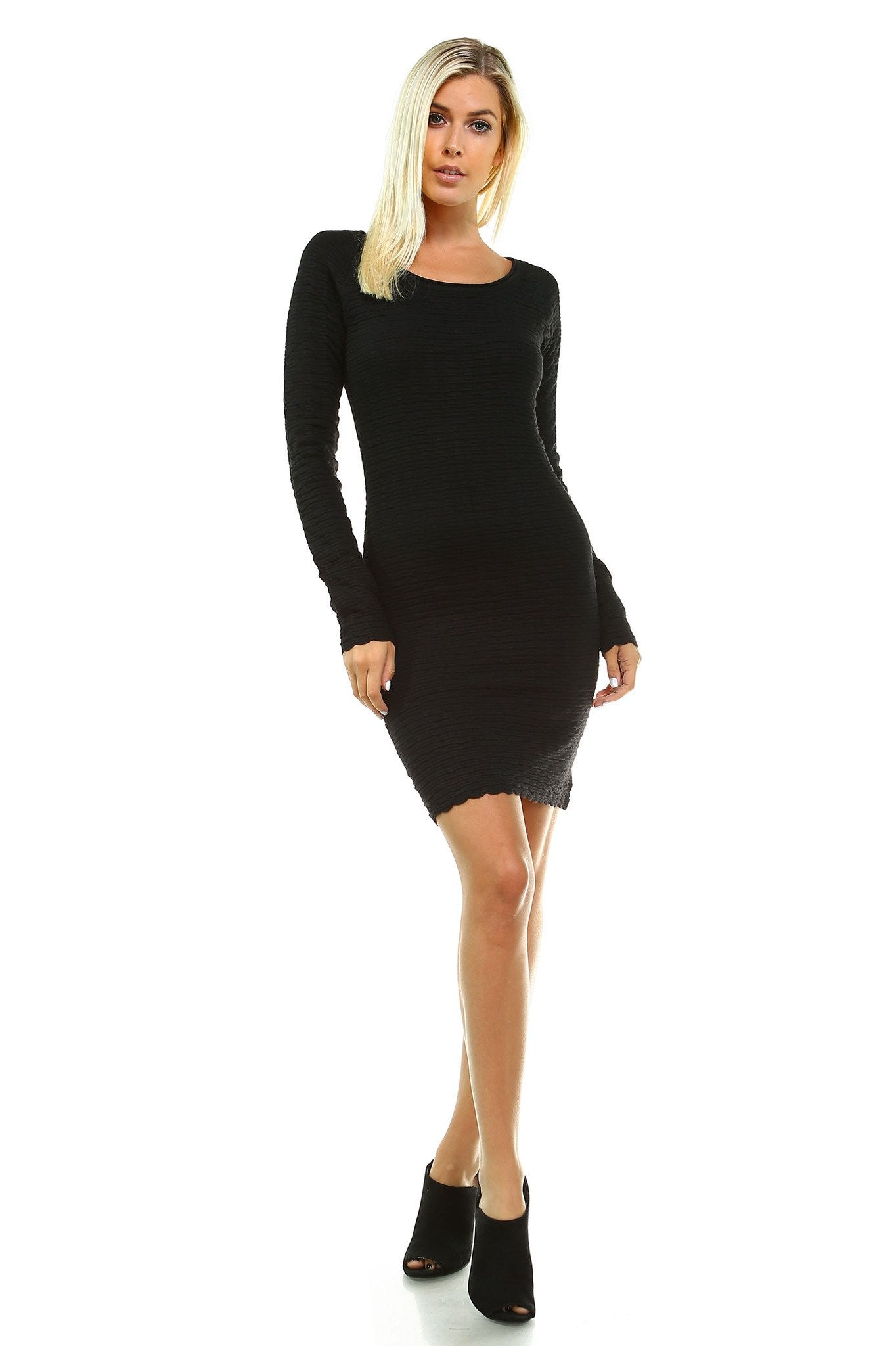 7fb73bcaeb0 Women s Long Sleeve Textured Sweater Dress - Womerio