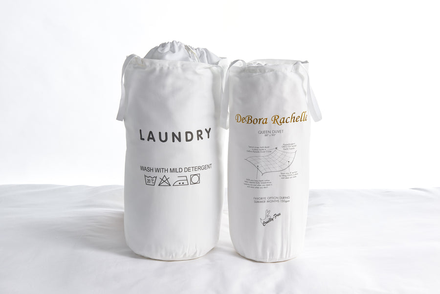 Duvet in laundry bag velcros to duvet cover white cruelty free