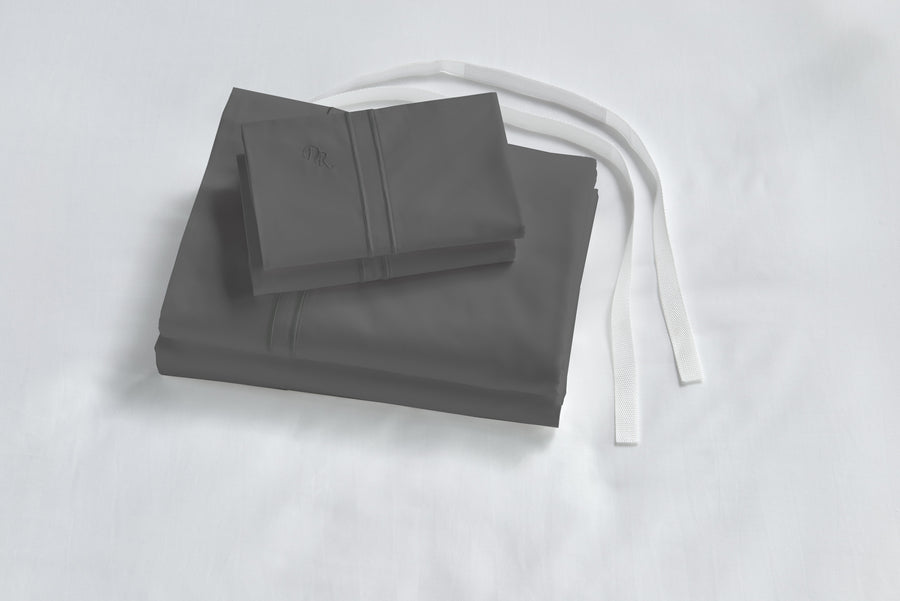 Gray Luxe bed sheets with straps hypoallergenic healthy cruelty free