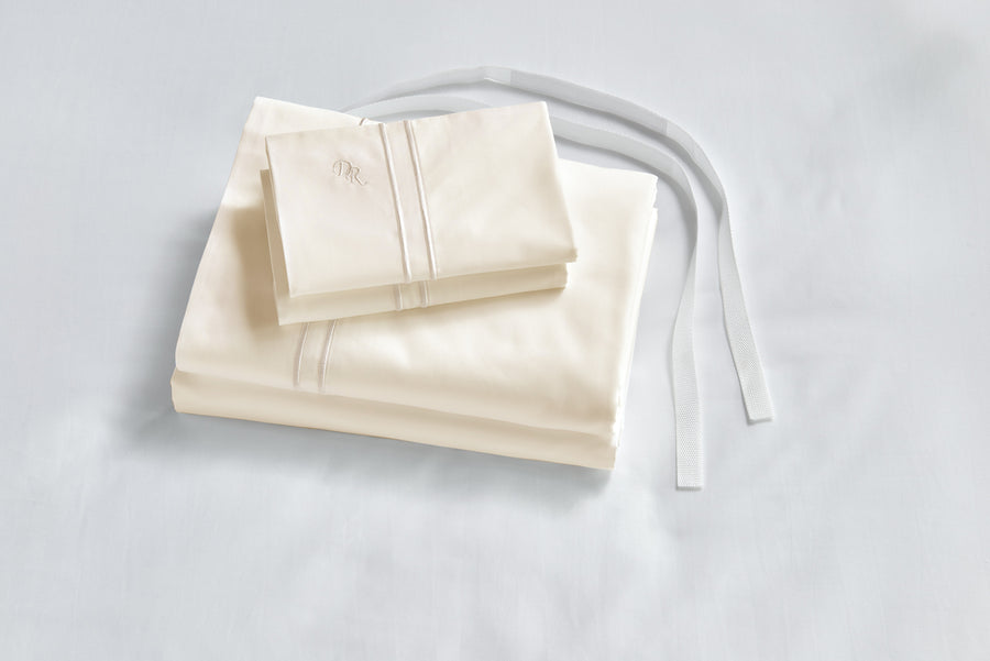 Ivory Luxe bed sheets with straps hypoallergenic healthy cruelty free