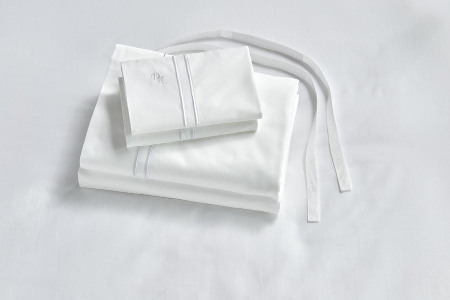 White Luxe bed sheets with straps hypoallergenic healthy cruelty free