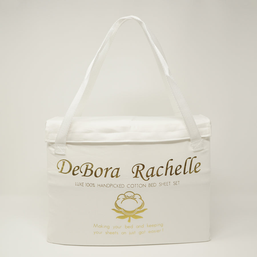 White DeBora Rachelle Bed Sheet Set packaging with Straps Stay on best packaging
