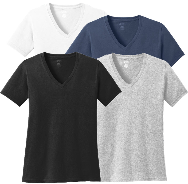 Womens Cotton V-neck T-shirt 4-Shirt Variety Pack Black White Grey Navy