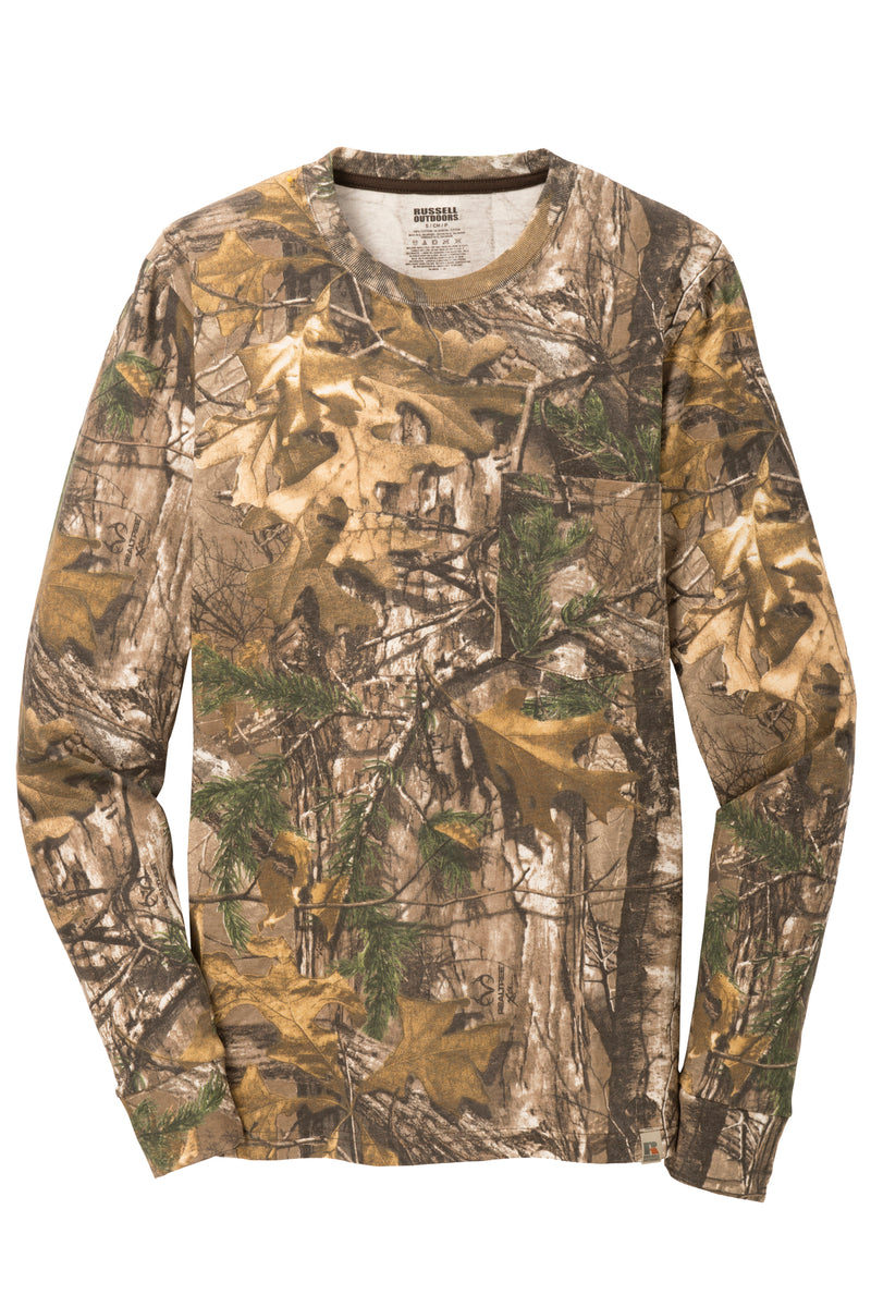 Mens RealTree Cotton Camo Tee Shirt Long Sleeve