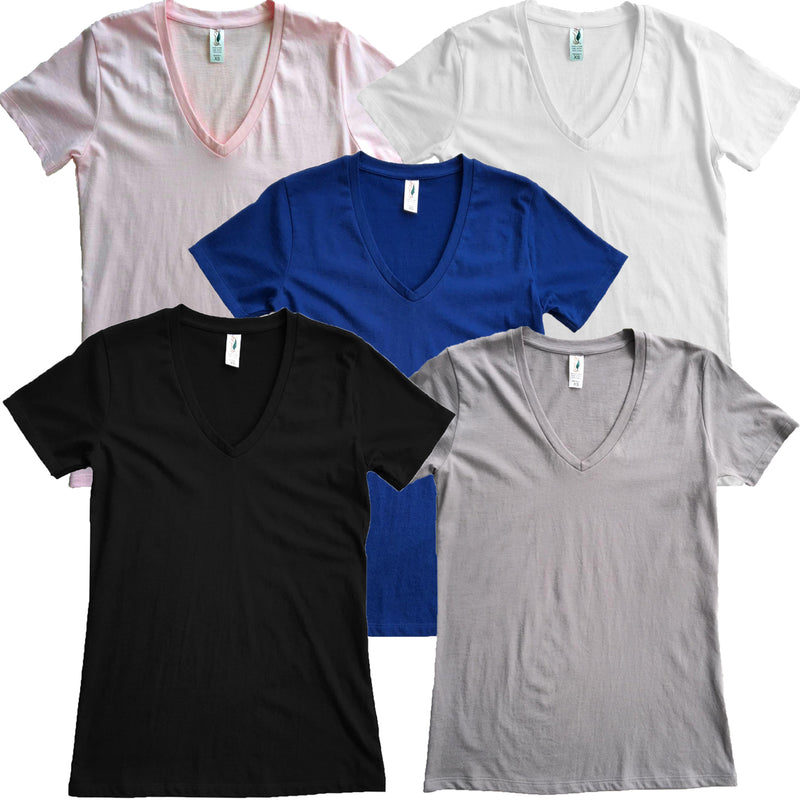 Good Life Women's V-Neck T-Shirts Mid Weight 6.25 oz 5-Pack - Good Life Apparel