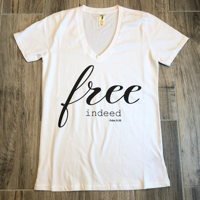 Women's Free Indeed John 8:36 V-Neck Tee
