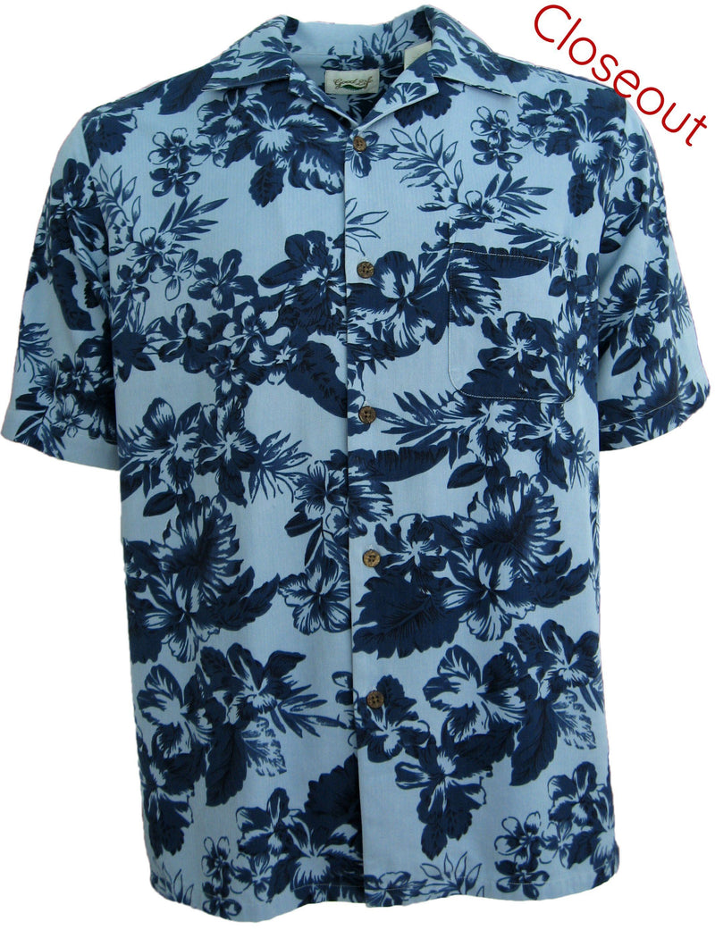 "Mens Light Blue Hawaiian Silk Camp Shirt Floral -""Blue Heaven"""