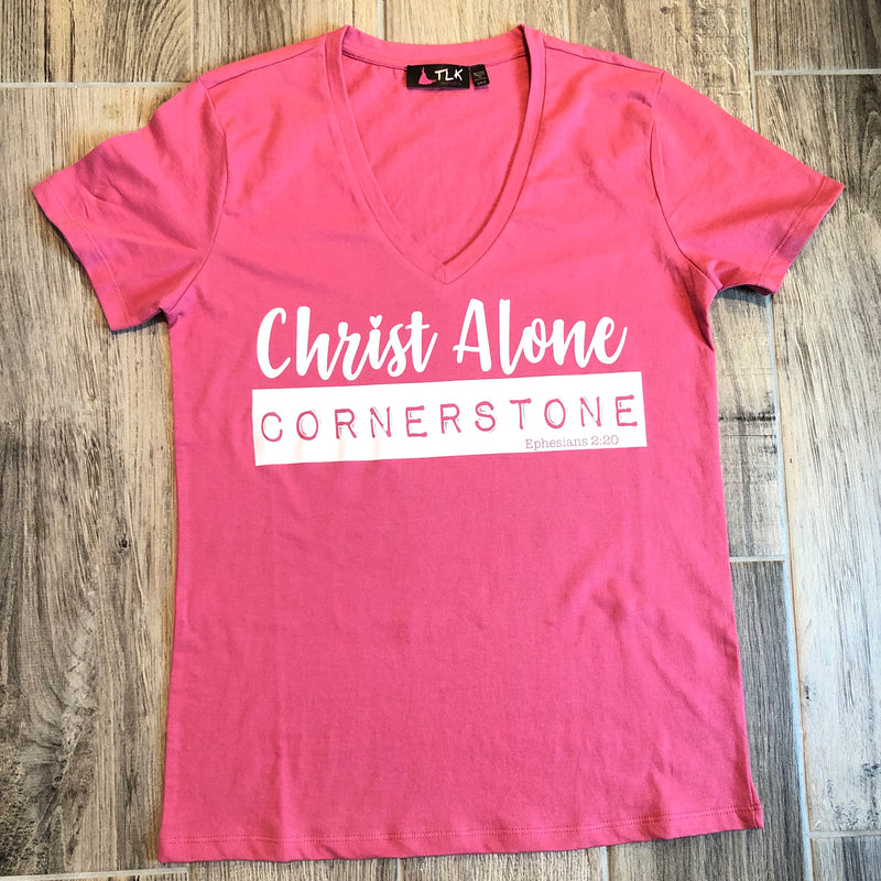 Women's V-Neck T-Shirt Ephesians 2:20 Christ Alone Cornerstone