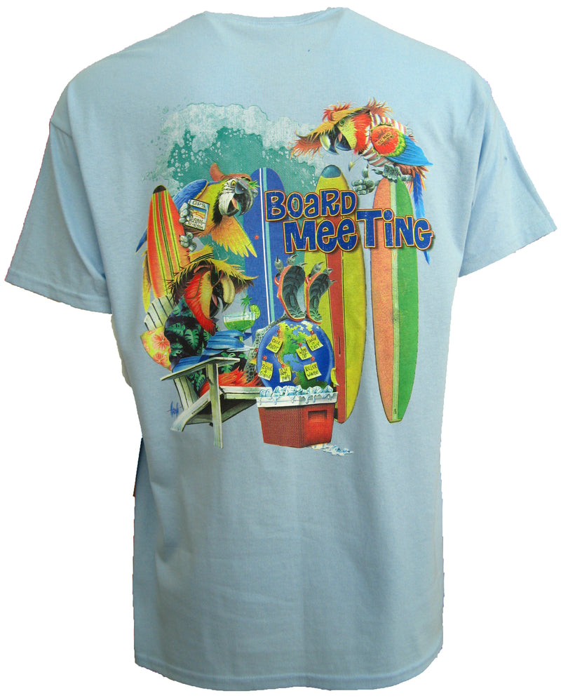 "100% Cotton ""Board Meeting"" Parrots T-Shirt - Light Blue - Good Life Apparel"