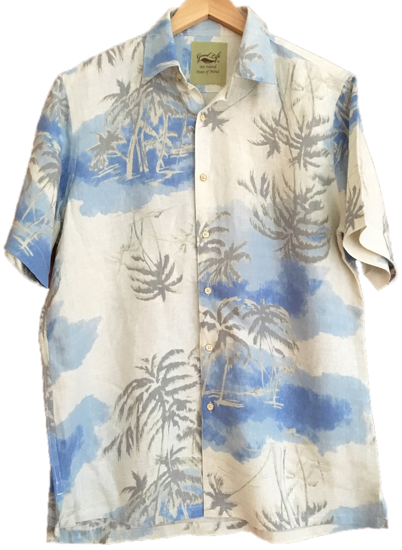 Silk & Linen Blend Hawaiian Style Camp Shirt Ivory Beach Palms