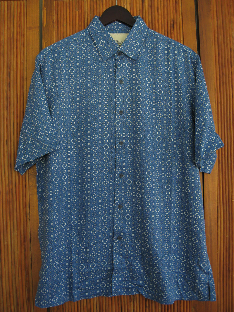 Silk Blend Retro Style Camp Shirt Blue Flake - Medium - Good Life Apparel