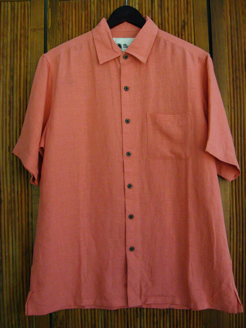 Solid Silk & Linen Camp Shirt Light Coral - Medium - Good Life Apparel