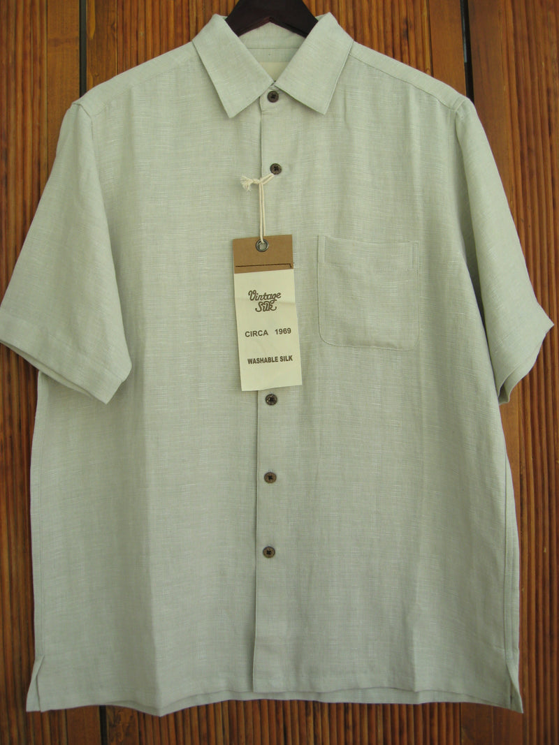 Solid Silk & Linen Camp Shirt Dark Ivory - Medium - Good Life Apparel