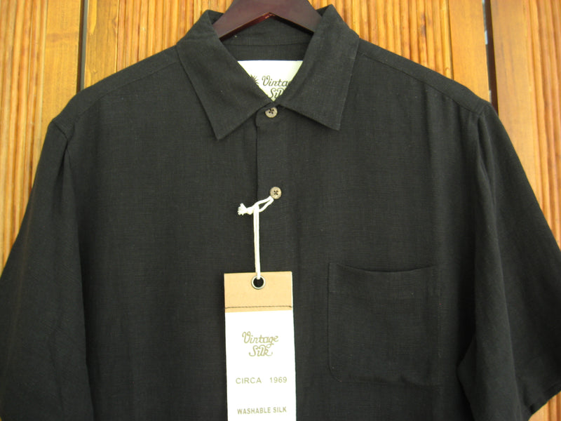 Solid Silk & Linen Camp Shirt Black- Large - Good Life Apparel