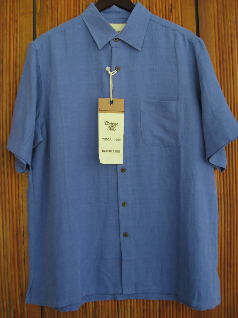 Solid Silk & Linen Camp Shirt Amparo Blue- Large - Good Life Apparel