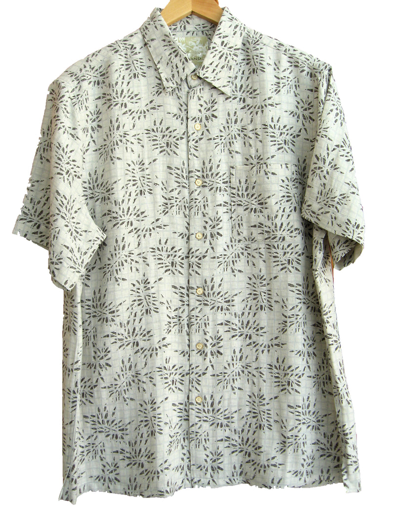 Silk & Linen Retro Style Camp Shirt Natural Shadow Palms