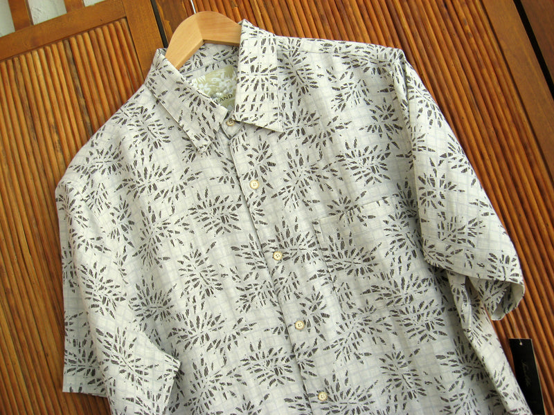 Silk & Linen Retro Style Camp Shirt Natural Shadow Palms - Good Life Apparel