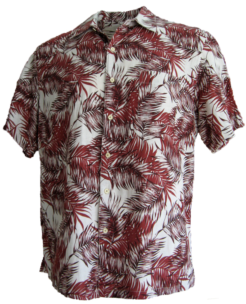 Silk & Linen Blend Camp Shirt Hawaiian Style Floral