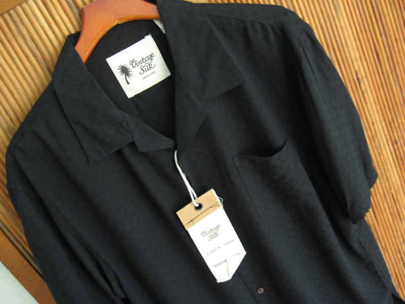 Solid Black Silk Blend Window Pane Camp Shirt- XL