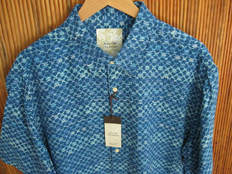 Silk & Linen Blend Retro Pattern Camp Shirt Aqua- XXL