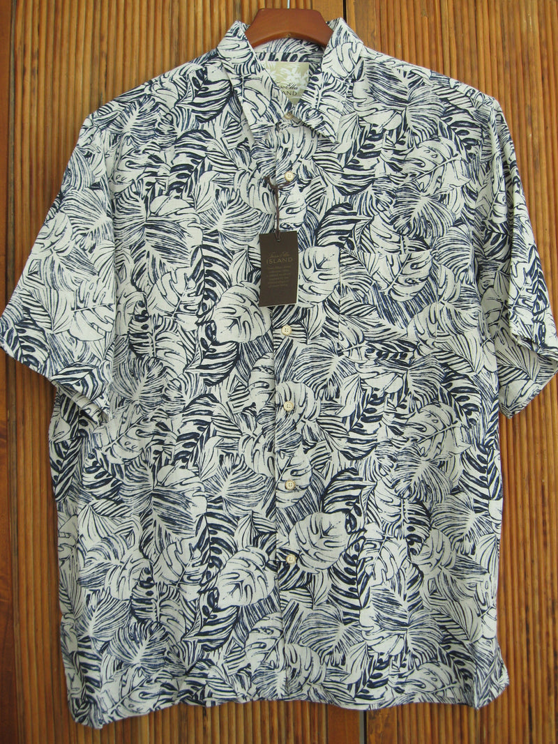 Mens Silk Linen Blend Hawaiian Camp Shirt Ivory & Blue