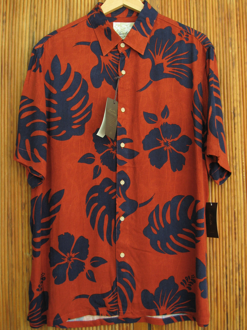 Mens Rust & Blue Floral Camp Shirt