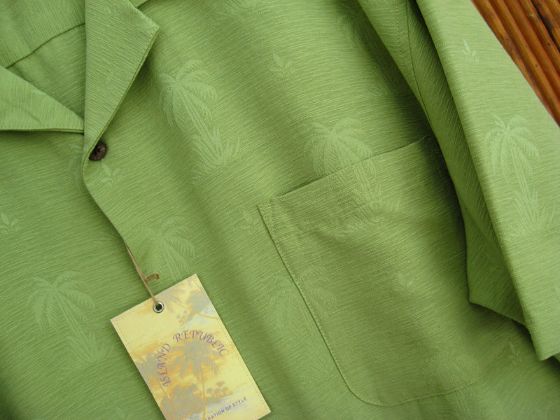 Silk Palm Tree Jacquard Camp Shirt-Golden Lime - XXL