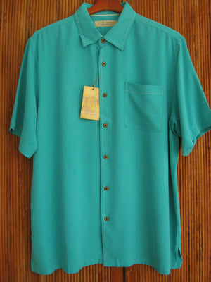 Silk Waffle Weave Solid Pocket Camp Shirt - Turquoise Foam - XL