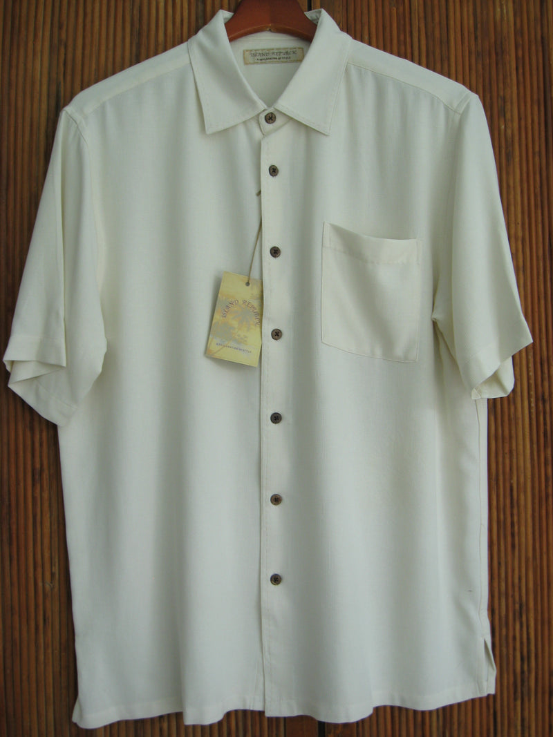 Silk Waffle Weave Solid Pocket Camp Shirt - Ivory - Medium